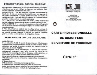 La carte professionnelle pour les conducteurs de VTC