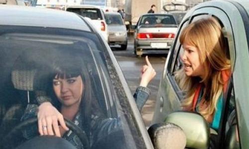une conductrice passablement énervée