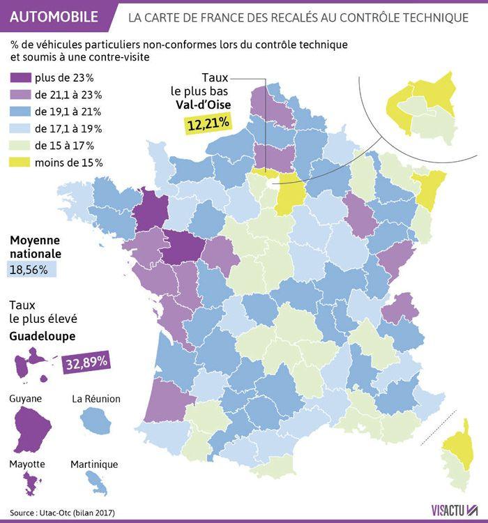 Carte de France des automobilistes recalé au contrôle technique