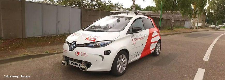 Une Renault Zoé du Rouen Normandy Autonomous Lab